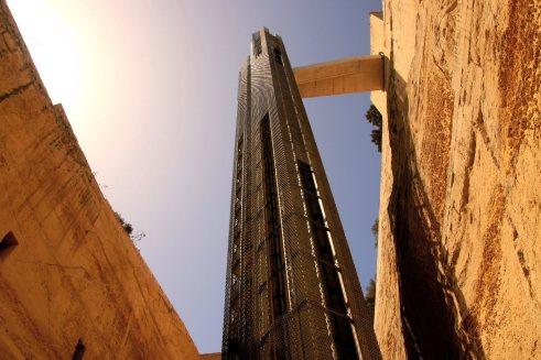An elevator that leads to a walkway to Upper Barrakka Gardens in Valletta, Malta.