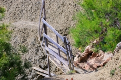 This wooden bridge was not entirely safe to walk on.