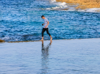Walking on water.