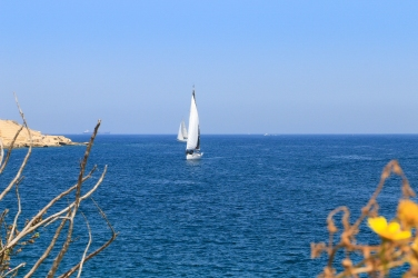 Sailboats on the Mediterranean Sea.