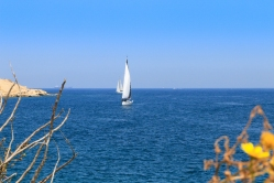 Sailing in the Mediterranean Sea when the weather is clear in October.