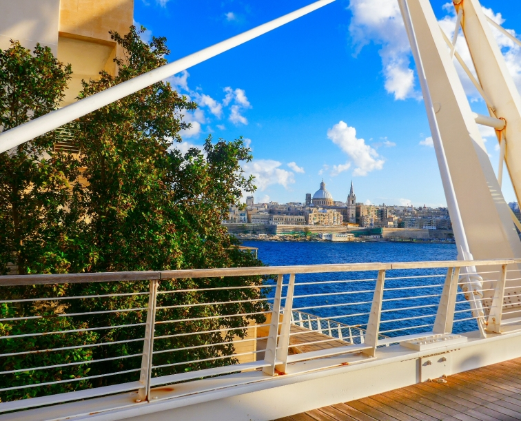 The foot bridge in Tigne, Sliema from where you can watch the view of Malta's capital Valletta on the other side.